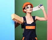 Serious Cute Sexy Builder Girl poster