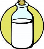 botella de cristal de leche con corcho
