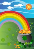 image of end rainbow  - Pot of gold at the end of the rainbow Illustration with clover - JPG