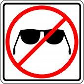 sun shades prohibited sign