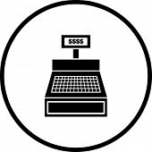 stock photo of cash register  - cash register machine symbol - JPG
