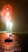 Fireworks And Boats On The Bay