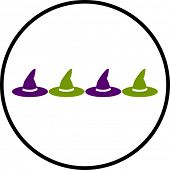 colorful witch hats symbol