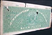 Old Indian Stamp Paper -ten Rupees