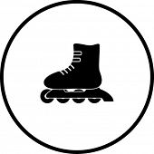 stock photo of roller-derby  - inline roller skates symbol - JPG