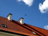 House Roof, Chimney And The Sky poster