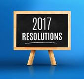 2017 New Years Resolutions Word On Blackboard With Easel On Vivid Blue Studio Backdrop,new Year Pla poster