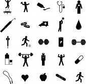 exercise sports health care and medical symbol set