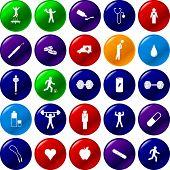 ejercicio conjunto de botón de deportes y salud