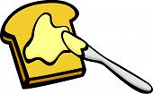 toast with butter and knife