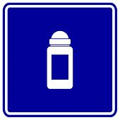 deodorant or antiperspirant roll-on bottle sign
