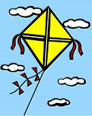 kite in the sky with clouds