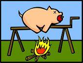 carne de porco em fogo