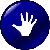 hand with palm extended or number five button