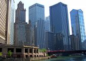 Chicago Skyline By River