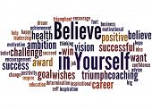 Believe In Yourself, Word Cloud Concept poster