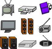 entertainment electronics illustrations set