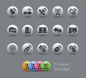 Wireless & Communications // Pearly Series -------It includes 5 color versions for each icon in diff