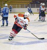 VITEBSK, BELARUS - AUGUST 20: An unidentified player of an ice-hockey team of