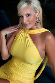 image of body shapes  - Beautiful blond woman wearing yellow dress - JPG