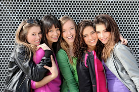 picture of teenage girl  - group of diverse mixed race or ethnic teenagers - JPG
