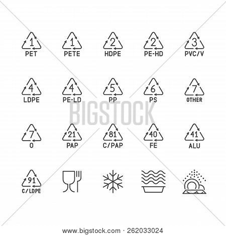 poster of Plastic Packaging Line Icons. Waste Recycling Symbols Polyethylene, Pvc, Pet Package. Vector Signs O