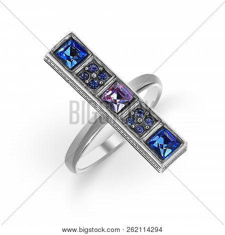 Gold Rings With Blue And
