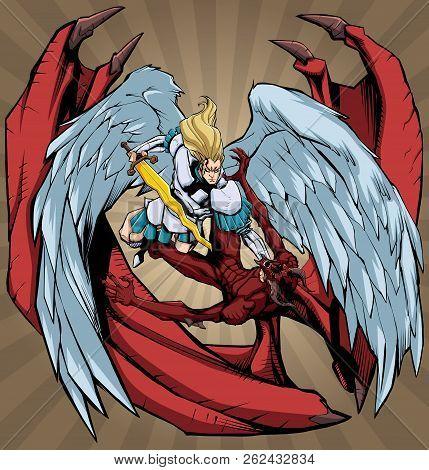 Illustration Of Archangel Michael Defeating