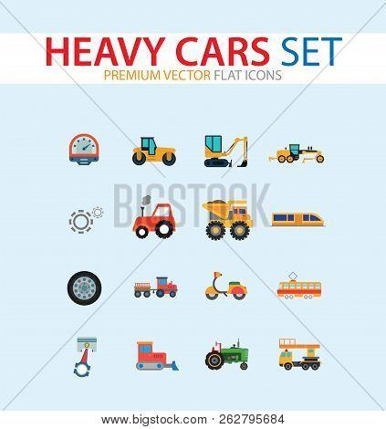 Heavy Cars Icon Set Trailer