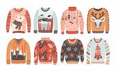 Set Of Ugly Christmas Sweaters Or Jumpers Isolated On White Background. Collection Of Winter Holiday poster