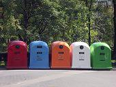 Reciclar contenedores para desechos de plástico-papel-metal-vidrio