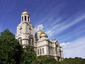 The Assumption Cathedral of Modern Byzantine style with golden domes, Varna, Bulgaria