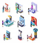 Isometric Expo Stands. Exhibition Demonstration Stand And Trade Stalls With People. 3d Vector Set Of poster