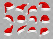 Big Set Of Realistic Santa Hats Isolated On Transparent Background. Vector Santa Claus Hat Colllecti poster