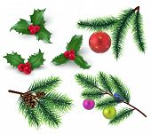 Christmas Decoration. Realistic Fir Tree Branches And Red Berries, Holly Leaves And Christmas Bauble poster