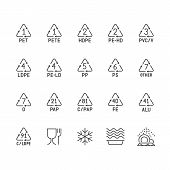 Plastic Packaging Line Icons. Waste Recycling Symbols Polyethylene, Pvc, Pet Package. Vector Signs O poster