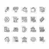 Finance, Money Loan Flat Line Icons Set. Quick Credit Approval, Currency Transaction No Commission,  poster