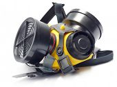 picture of respirator  - Respirator with interchangeable filter cartridges shot over white - JPG