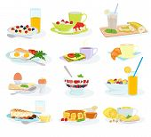Breakfast Vector Morning Food Healthy Meal Egg Cereal Cake And Pancake With Orange Juice And Coffee  poster