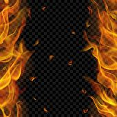Translucent Fire Flame With Vertical Seamless Repeat On Two Sides, Left And Right, On Transparent Ba poster