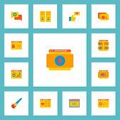 Set Of Website Development Icons Flat Style Symbols With Shop Page, Website Video, Website Optimizat poster