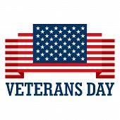 Usa Veterans Day Logo. Flat Illustration Of Usa Veterans Day Vector Logo For Web Design poster