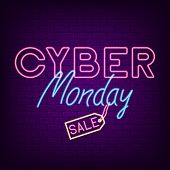 Cyber Monday Neon Banner. Bright Neon Advertising Night Signboard For Sale Of Cyber Monday. Vector I poster