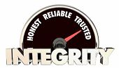 Integrity Honest Reliable Trusted Reputation Speedometer 3d Illustration poster