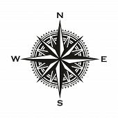 Navigation Compass Sign, Rose Of Winds With Direction Arrows. Vector Marine And Nautical Sailing Car poster
