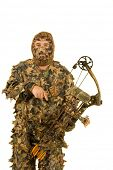 picture of fletching  - Archery hunter dressed in real leaf 3D camouflage - JPG