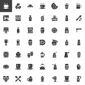 Coffee Shop Vector Icons Set, Modern Solid Symbol Collection, Filled Style Pictogram Pack. Signs, Lo poster