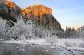 Sunset on the granite peaks in Yosemite valley above the Merced river