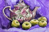 Watercolor Brewer With Tea And Apples, Drawing With Watercolor. Painting Texture Watercolor Painting poster