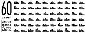 60 Sneaker Running Shoes Icon Set. Casual Simple Style Logo. Vector Illustration Icons Set Of Fitnes poster